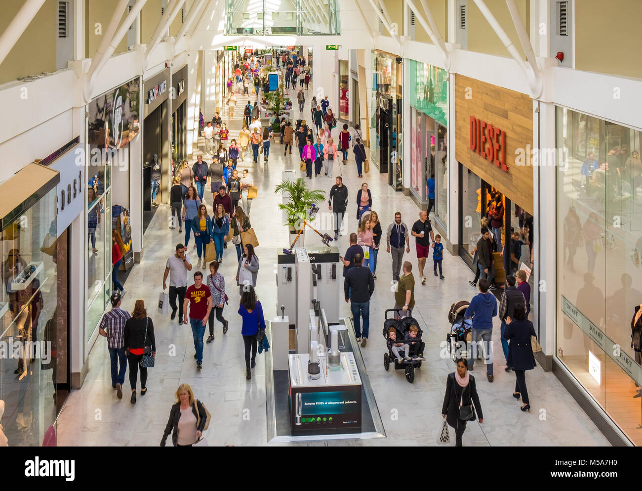 Liffey Valley Shopping Mall / Centre, outside Dublin, Ireland busy with shoppers - Stock Image