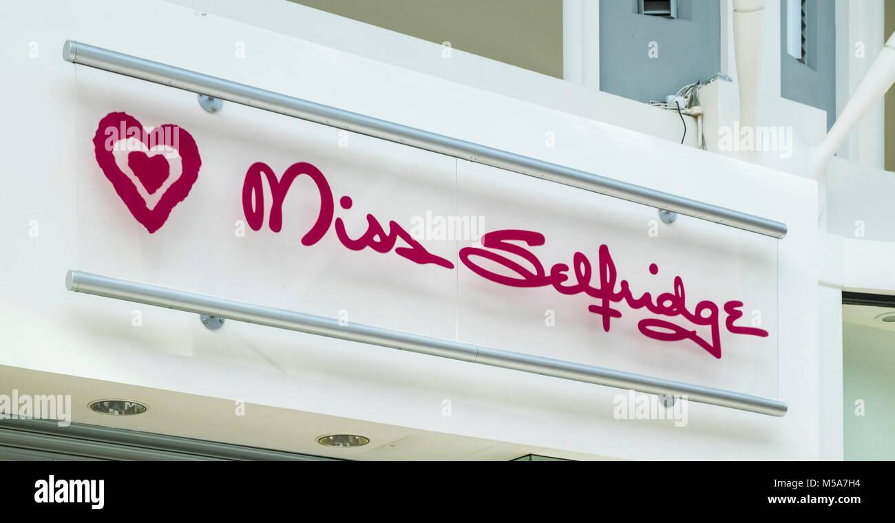 Miss Selfridge store sign logo UK - Stock Image