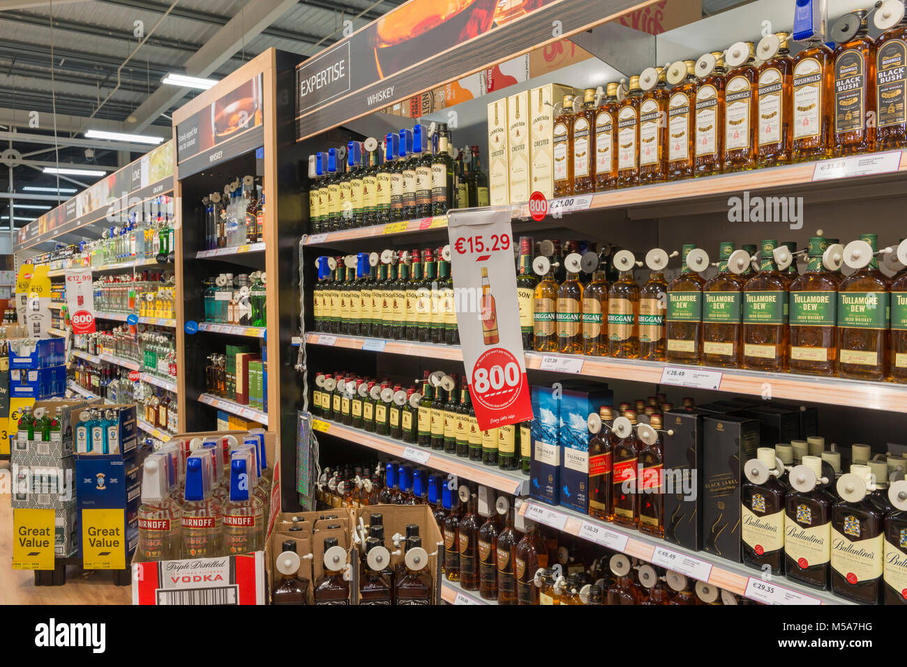 Whisky and other spirits alcohol for sale in a supermarket, Ireland - Stock Image