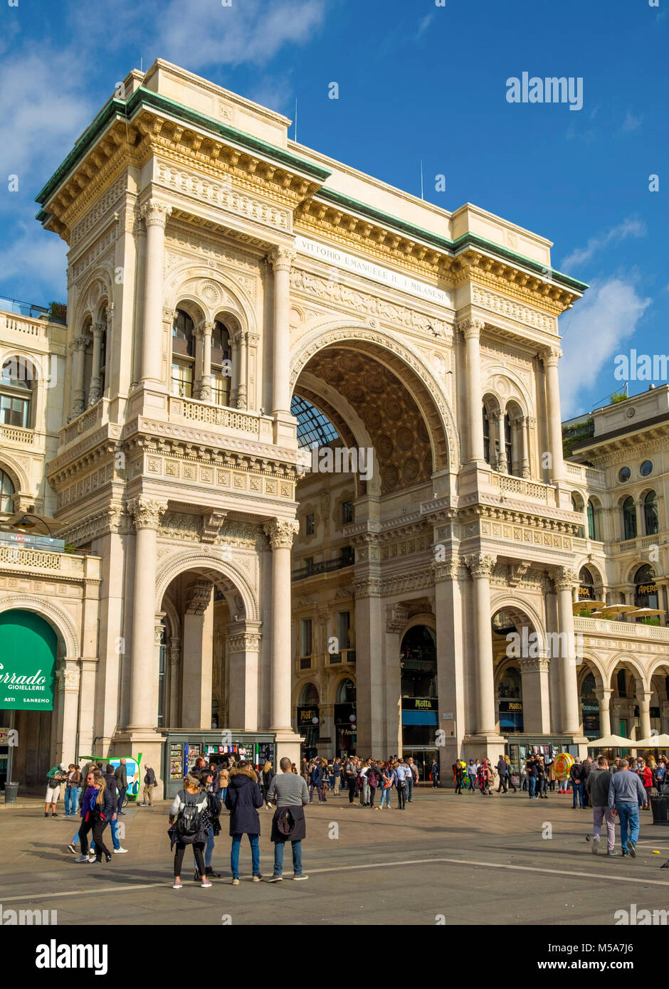 Entrance to Galleria Vittorio Emanuele ll, Milan, Italy - the world's oldest shopping mall - Stock Image
