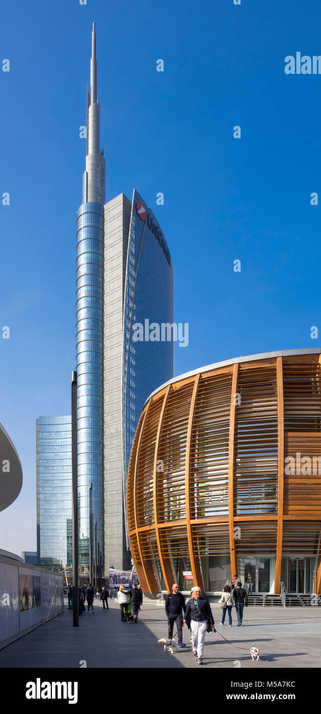 At Porta Nuova business district in the Piazza Gae Aulenti, Milan, Italy - with modern architecture UniCredit Tower - Stock Image