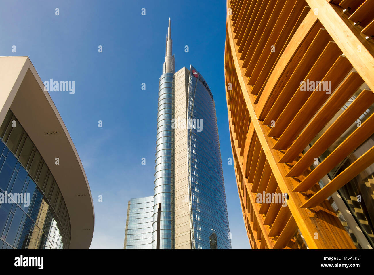 Modern architecture - UniCredit Tower or Torre UniCredit at Porta Nuova business district, Milan, Italy, with the - Stock Image