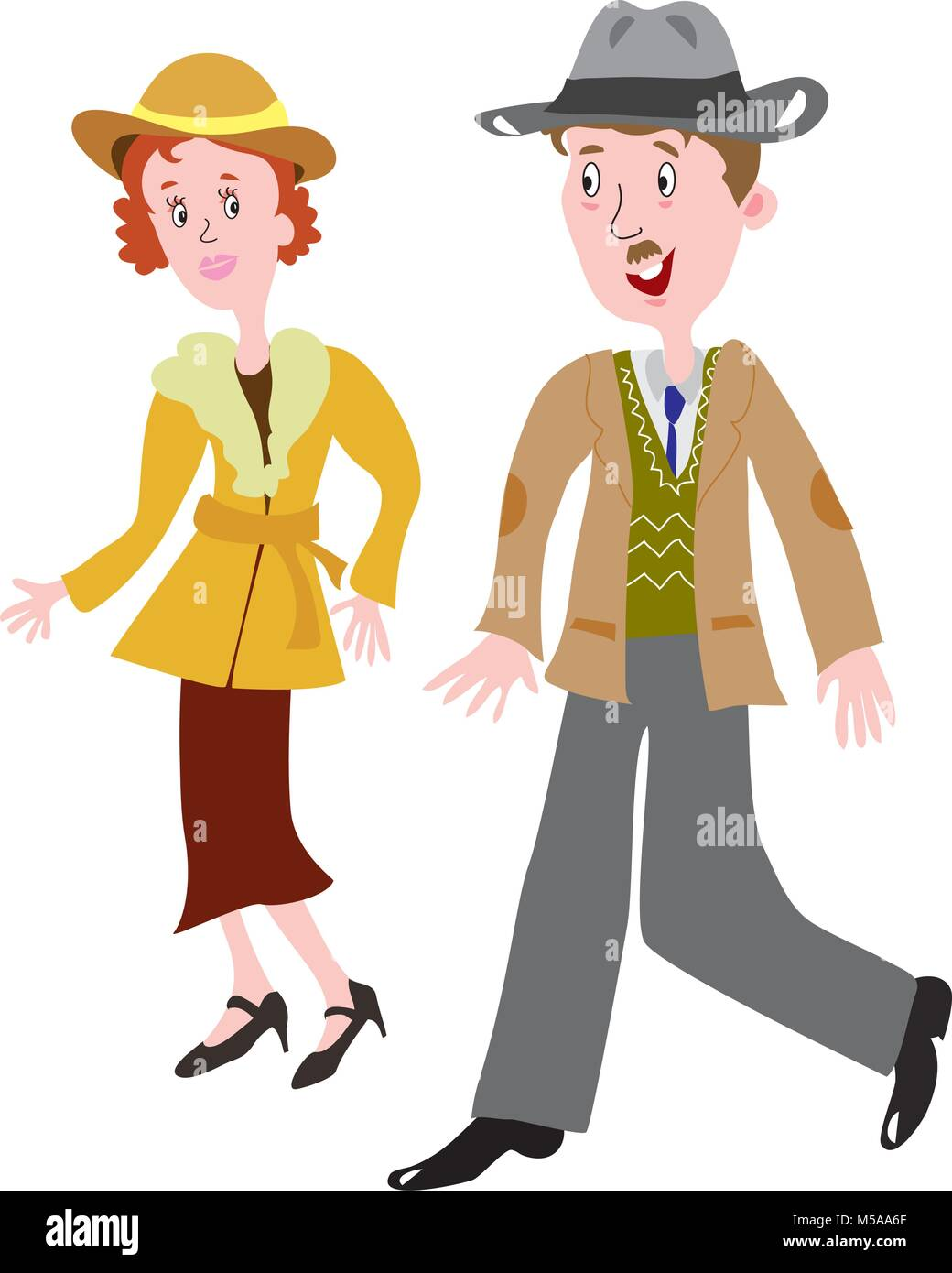 cartoon couple in the fashionable clothes of the 1930s - Stock Vector