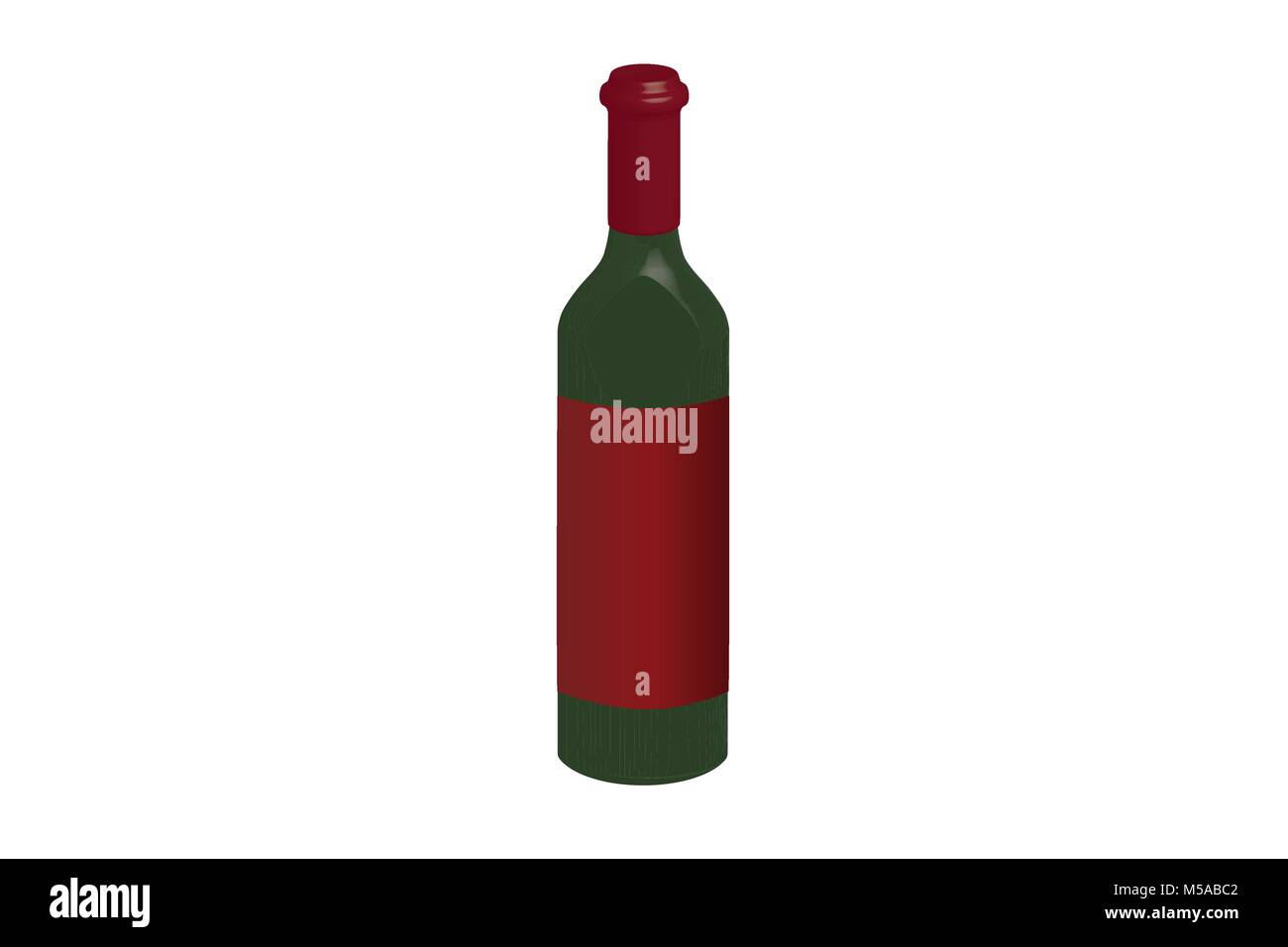 Illustration of bottle of red vine with red label, vector of green glass bottle with trademark-neutral label/ unopened - Stock Image