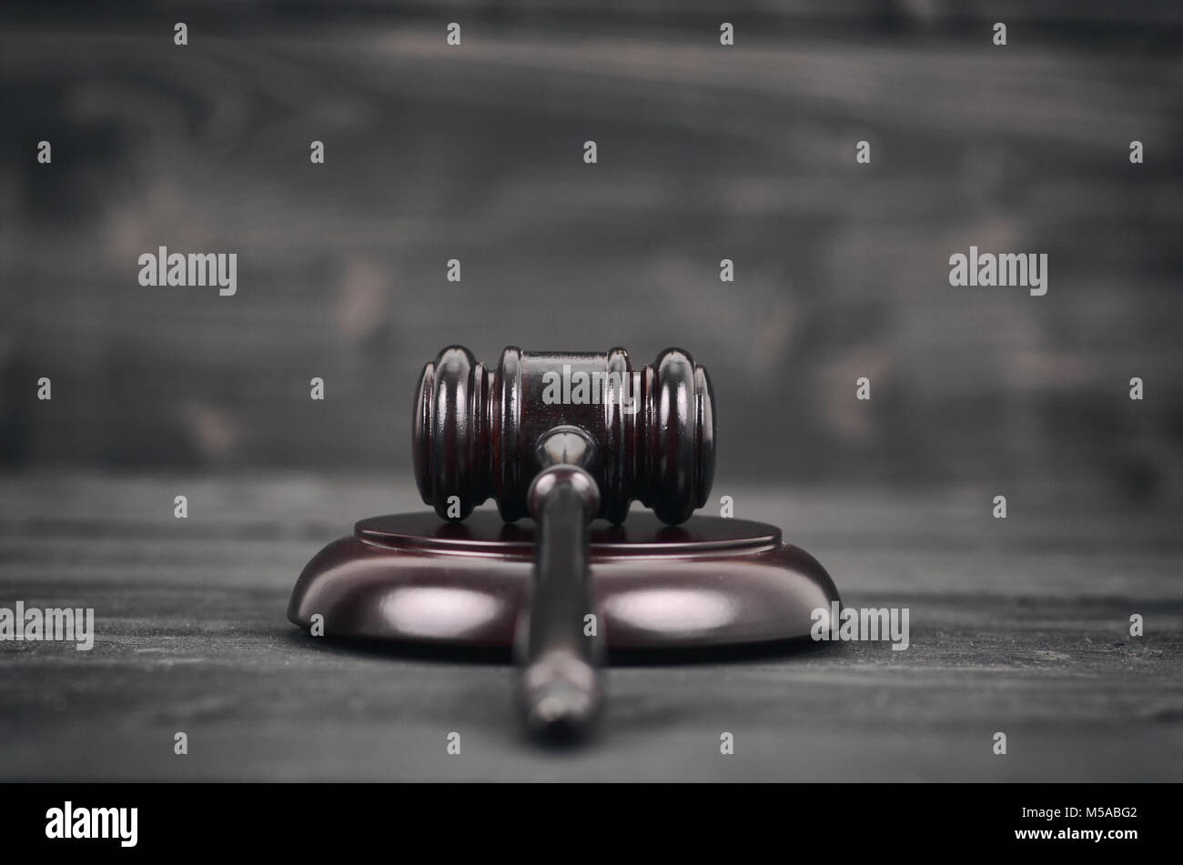Law and Justice, Legality concept, Judge Gavel on a black wooden background. - Stock Image