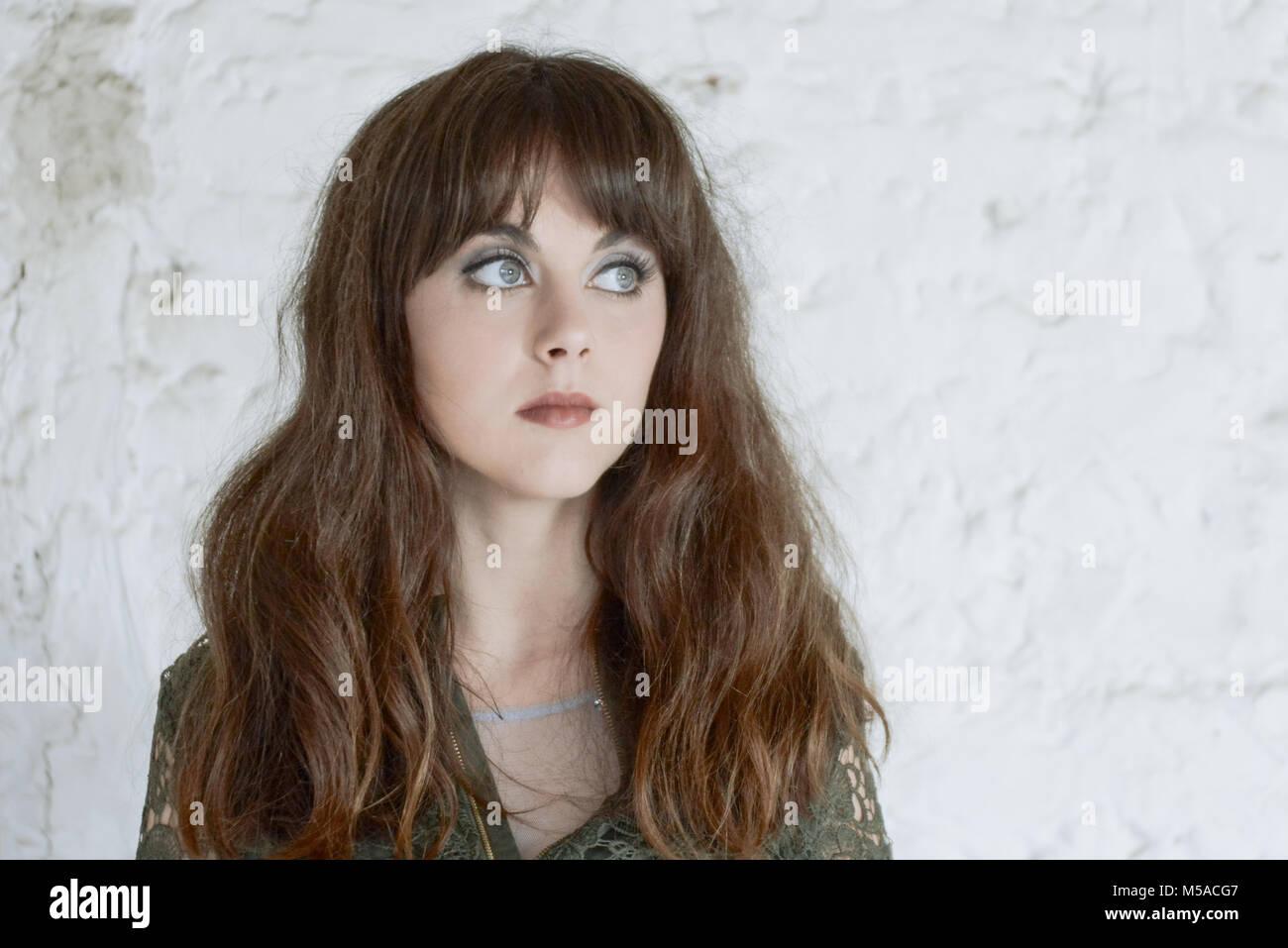 Female Long Dark Hair Fringe Eyes Stock Photos Female Long Dark