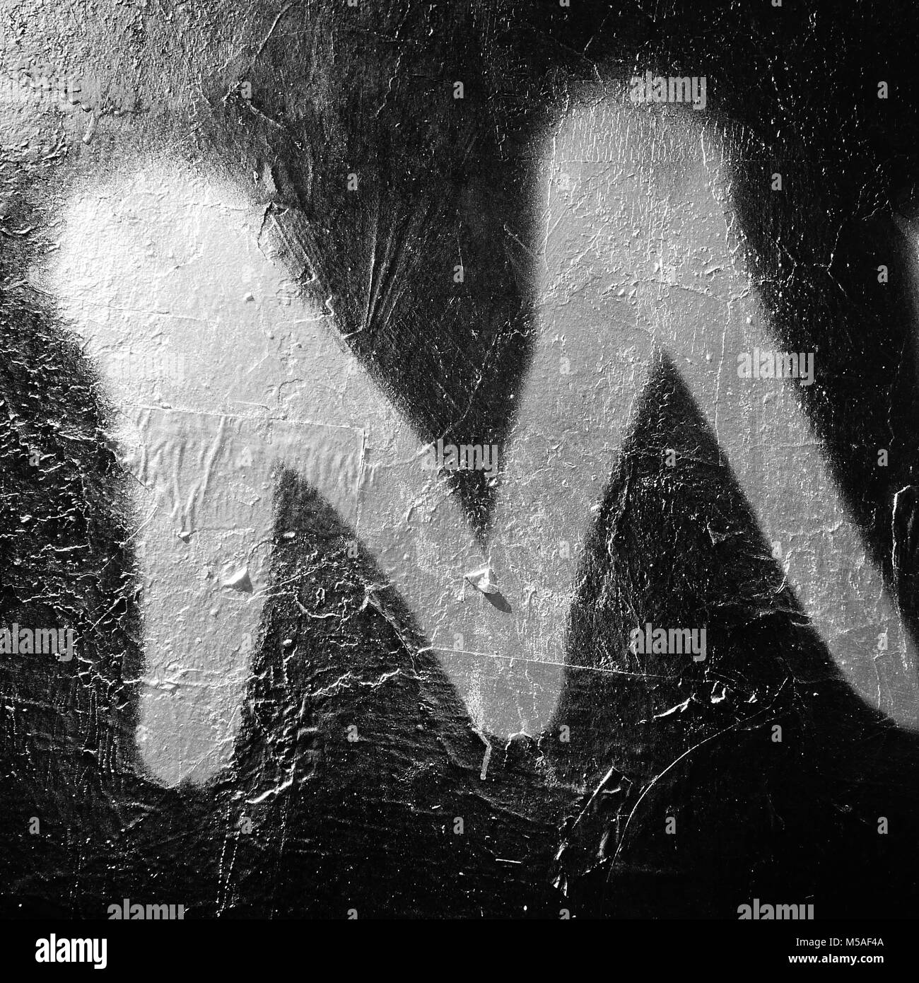 Letter M, written on a wall, Lyon, France - Stock Image