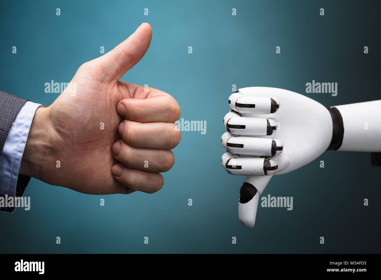 Businessperson And Robot Showing Thumb Up And Thumb Down Sign On Turquoise Background - Stock Image