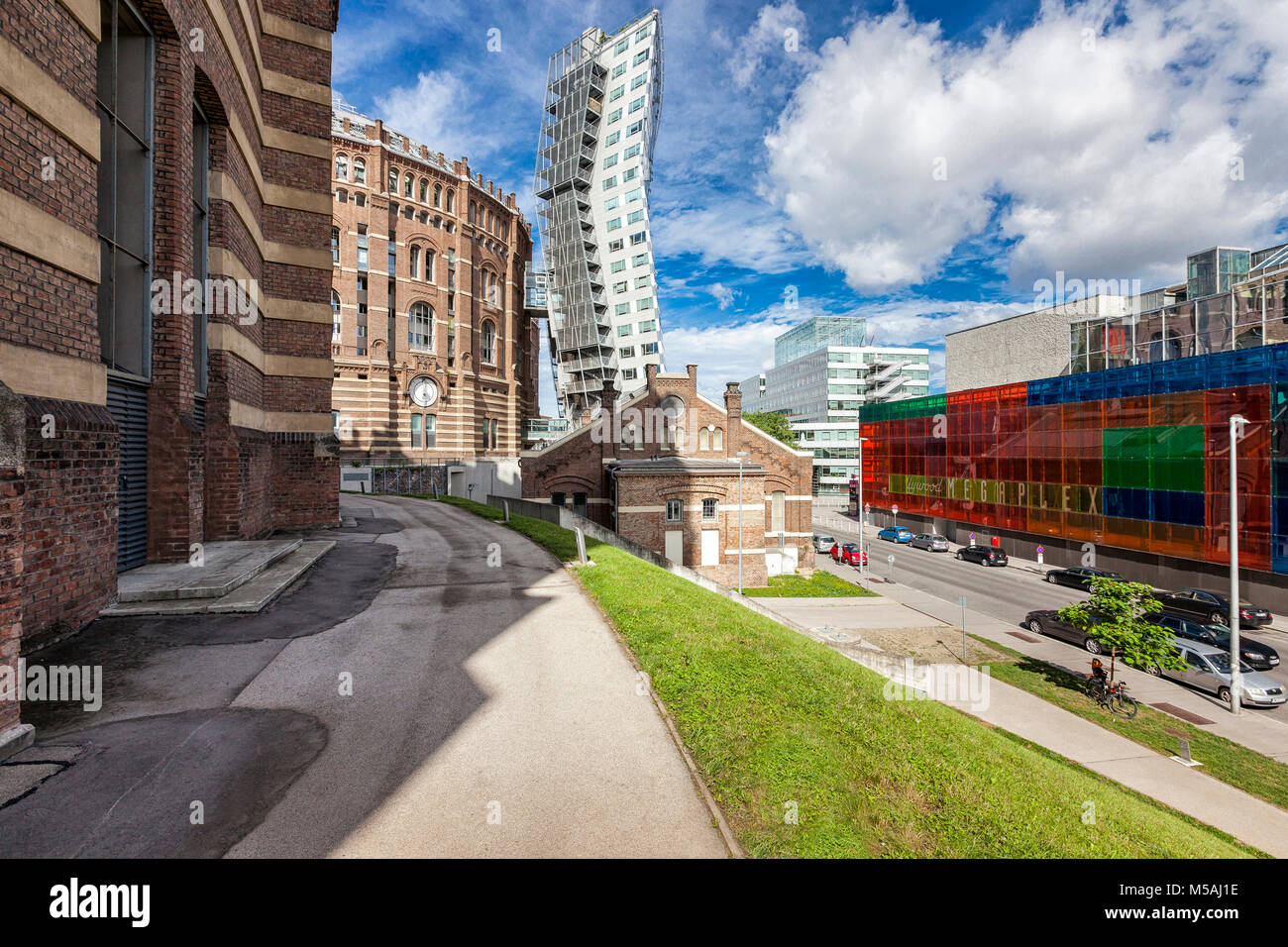 The Gasometer in Vienna-Simmering former gas tank from the year 1896. From 1999 to 2001 revitalized and converted - Stock Image