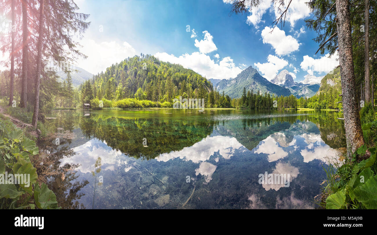 At the Schiederweiher in Hinterstoder with a view at the mountain peaks Spitzmauer and part of the Grosser Priel. - Stock Image