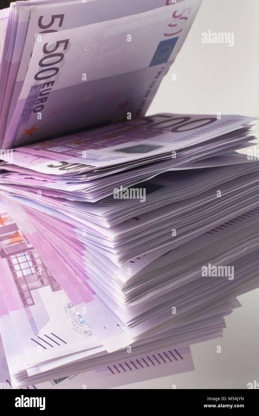 many 500 euro banknotes. EU currency Stock Photo
