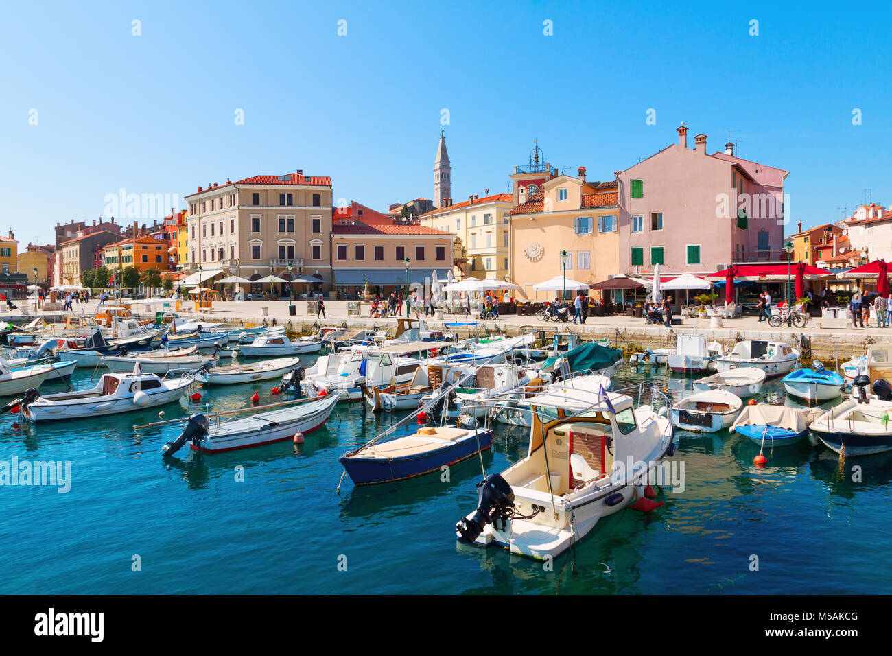 Beautiful and cozy medieval town of Rovinj, colorful with houses and church the harbor in Croatia, Europe Stock Photo