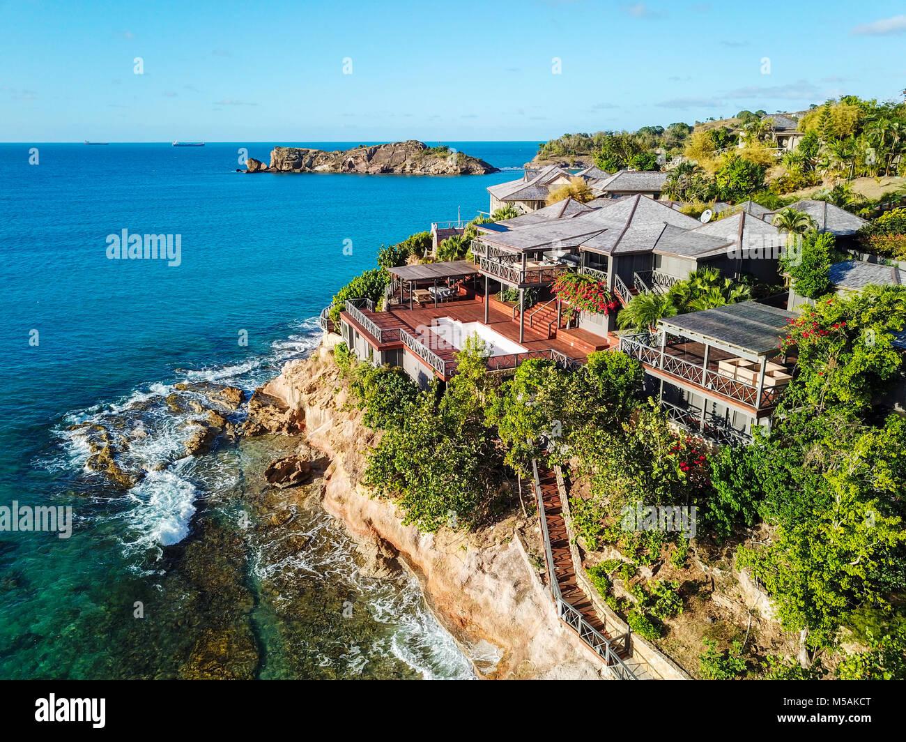 Giorgio Armani's Cliffside Retreat, Galley Bay Beach, Antigua - Stock Image