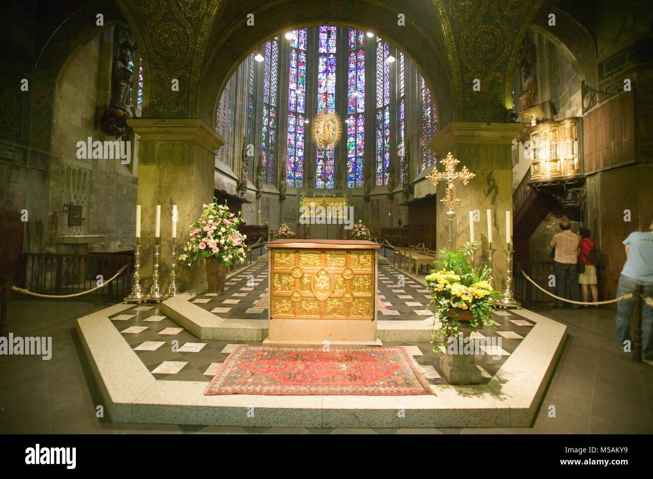 Aachen Cathedral, Aachen or Aix-la-Chapelle, North Rhine-Westphalia, Germany - Stock Image