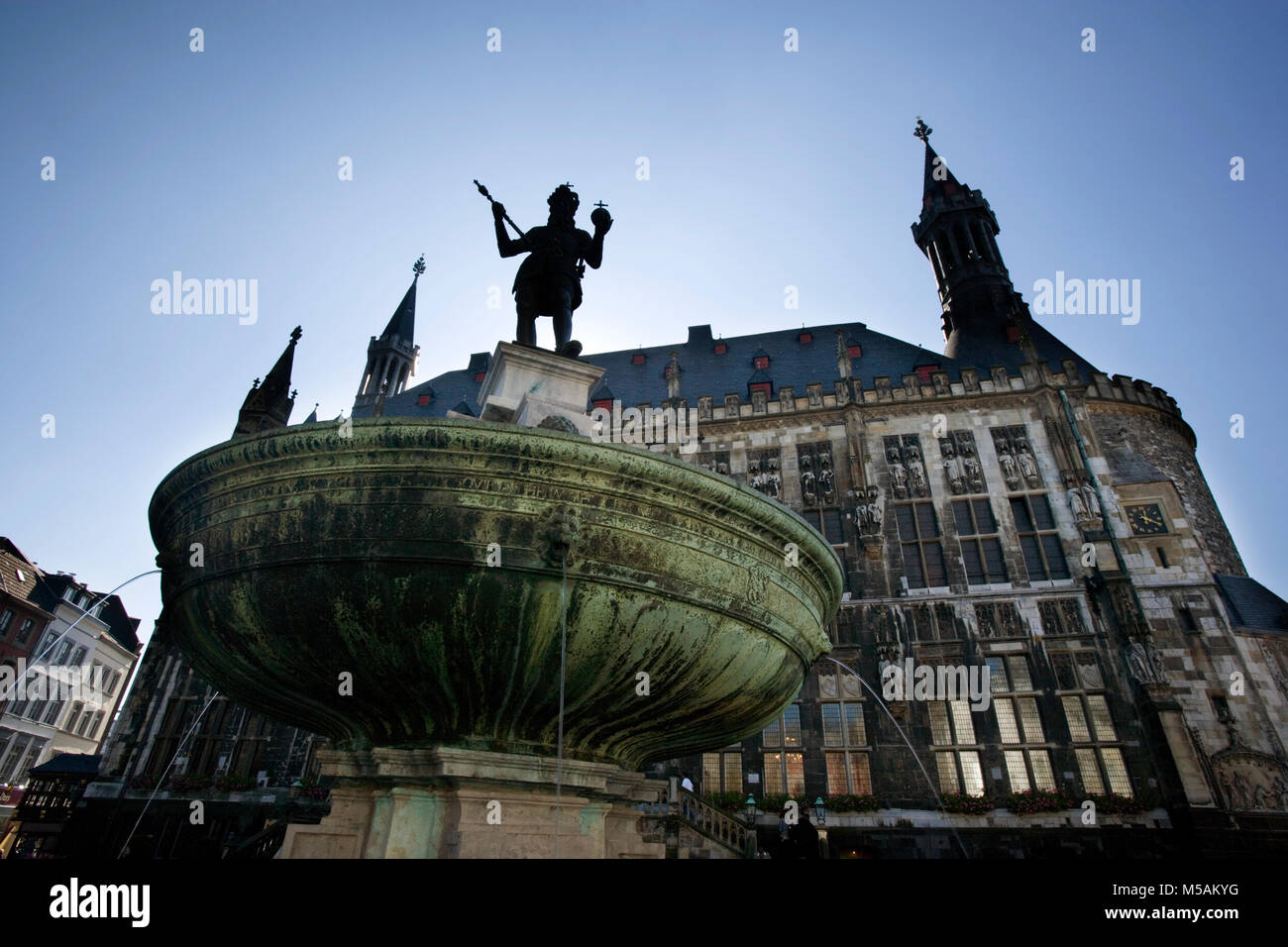 Aachen City Hall, Charlemagne fountain, Aachen or Aix-la-Chapelle, North Rhine-Westphalia, Germany - Stock Image