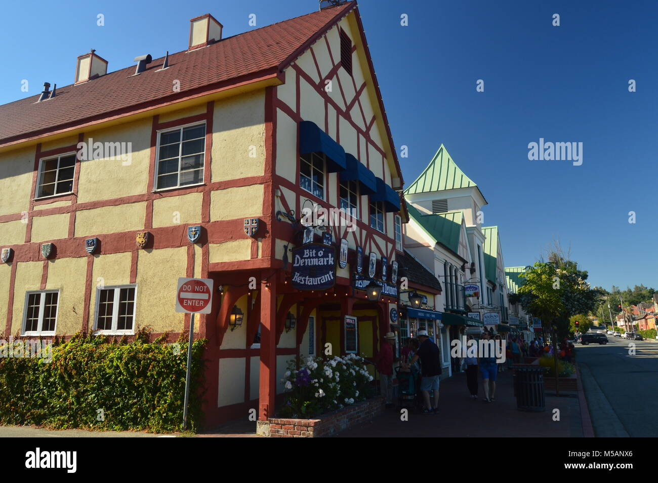 Restaurants Of Solvang: A Picturesque Village Founded By Danes With Its Typical Contructions Of The Historic Denmark. - Stock Image