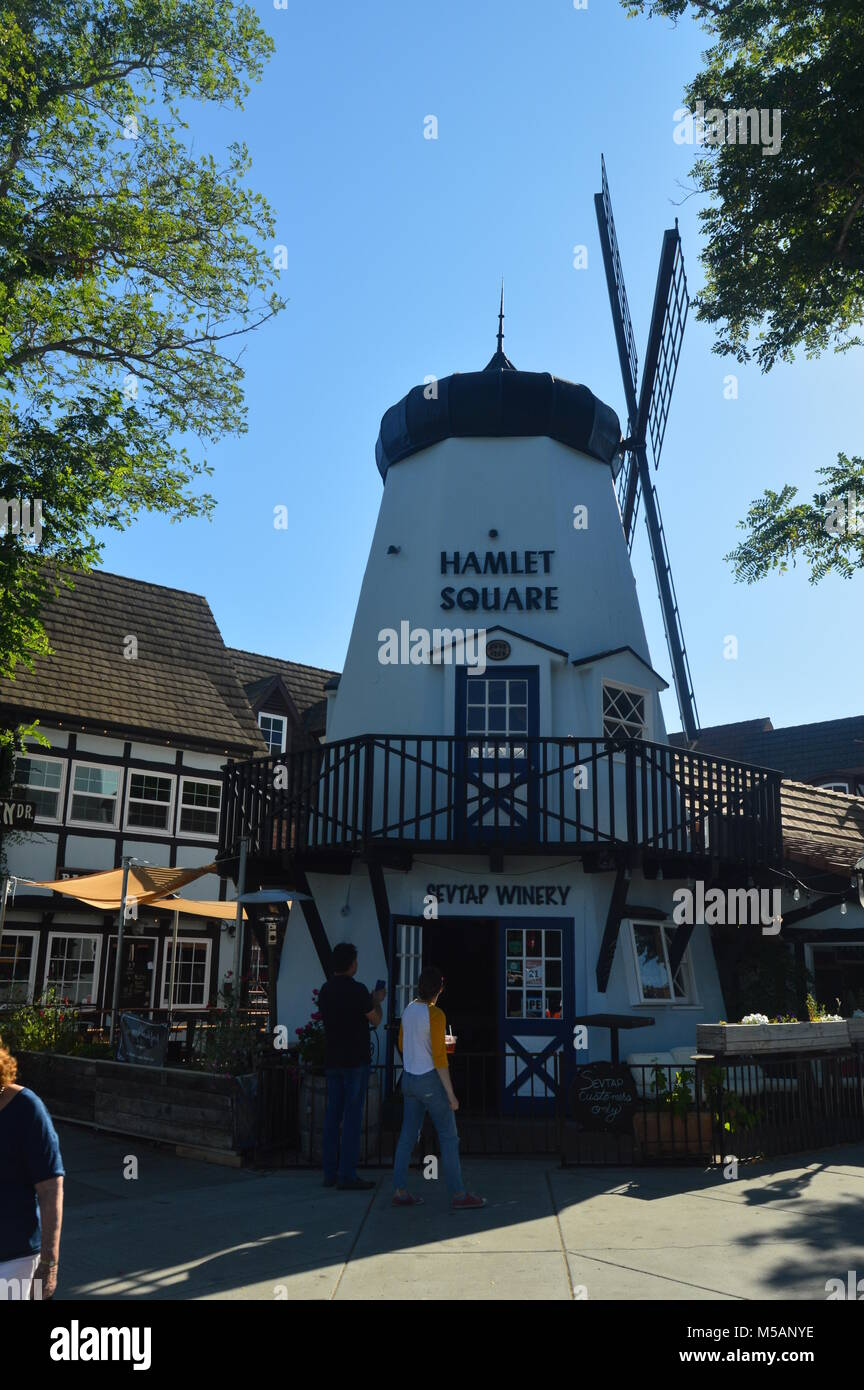 Typical Danish Mill In Solvang: A Picturesque Village Founded By Danes With Their Typical Contructions Of The Historic - Stock Image