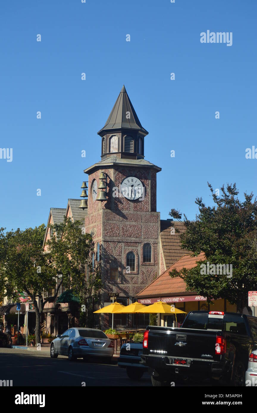 Typical Danish Clock In Solvang: A Picturesque Village Founded By Danes With Their Typical Contructions Of The Historic - Stock Image