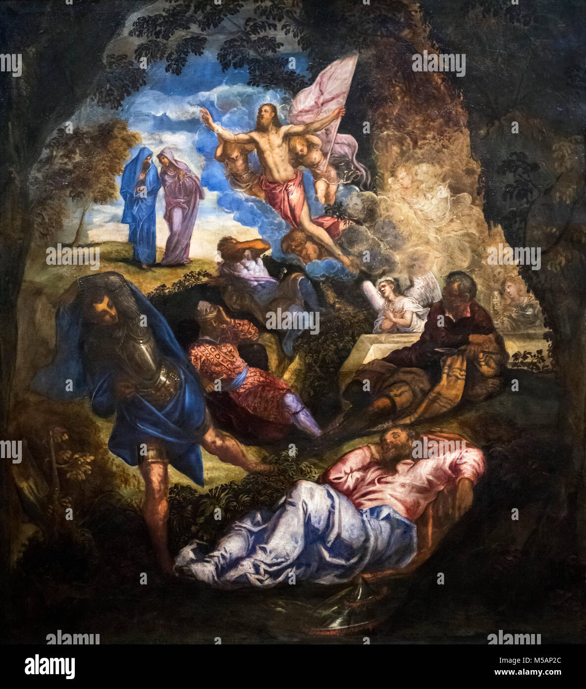 The Resurrection of Christ by Jacopo Tintoretto (c.1518-1594), oil on canvas, c.1570s - Stock Image