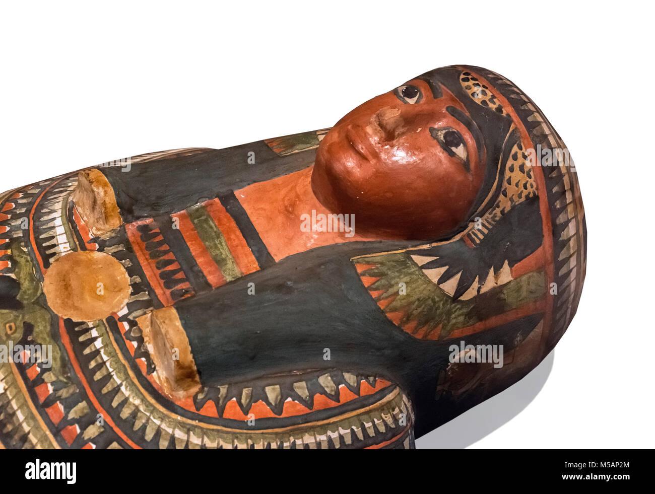 Egyptian Mummy of the Lady Meresamun, dating from around 830-715 BC, Ashmolean Museum, Oxford, England, UK - Stock Image
