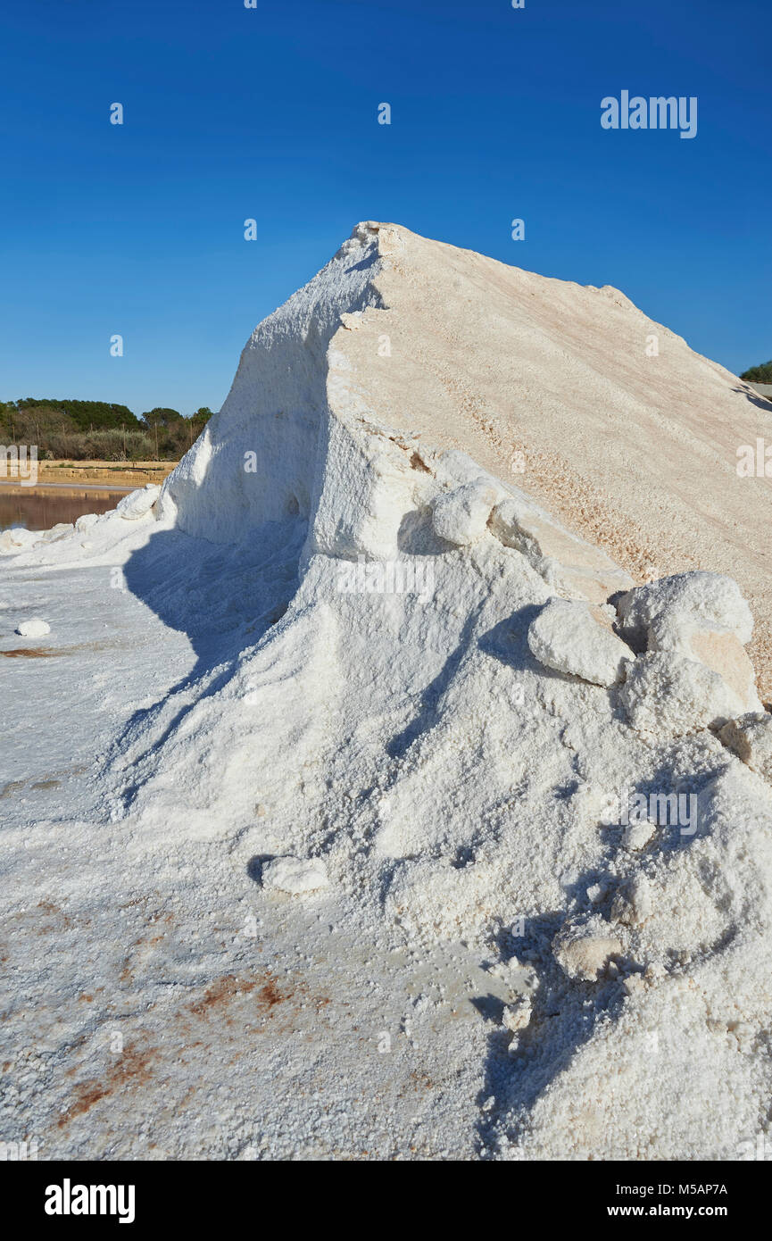 Pictures & images of Pile of sea salt at the salt pans of Trapani, Sicily - Stock Image