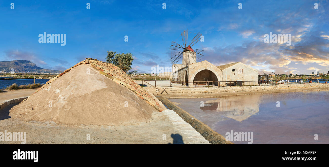 Pictures & images of Nubia Salt works Museum and Nubia wind mill,  World Wildlife reserve of Saline di Trapani and Stock Photo