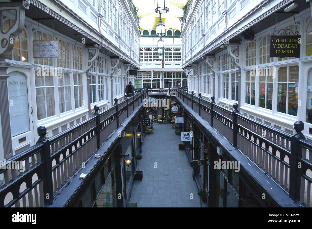 The Castle Arcade balcony, or gallery, with small shops, Cardiff, Wales, United Kingdom - Stock Image