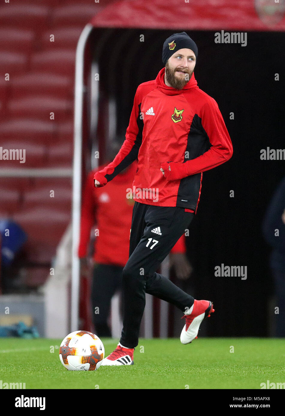 Ostersunds FK's Curtis Edwards during the training session at the Emirates Stadium, London. Stock Photo