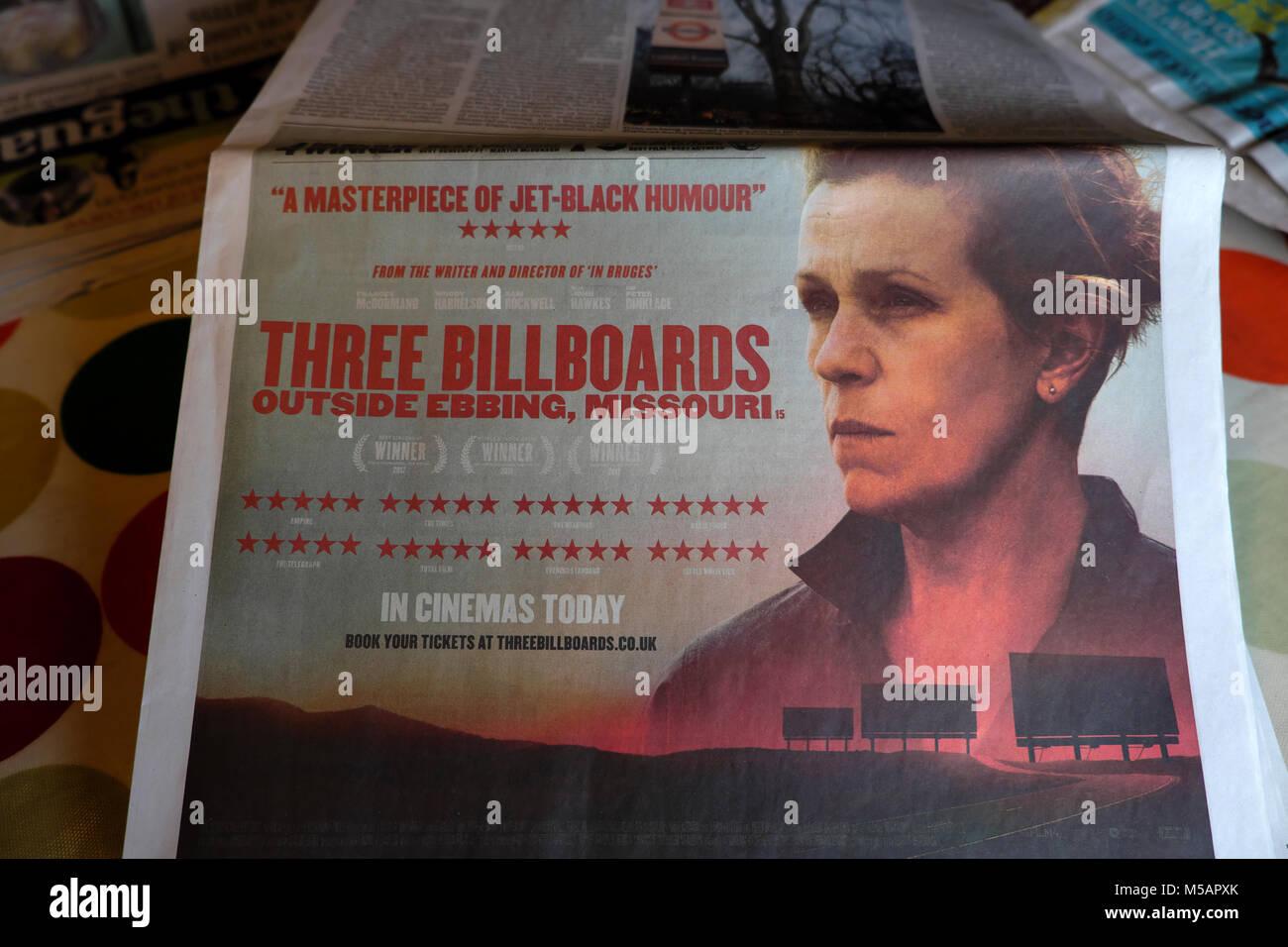 Three Billboards Outside Ebbing, Missouri Oscar Award Winning movie advert in a British newspaper with Hollywood - Stock Image