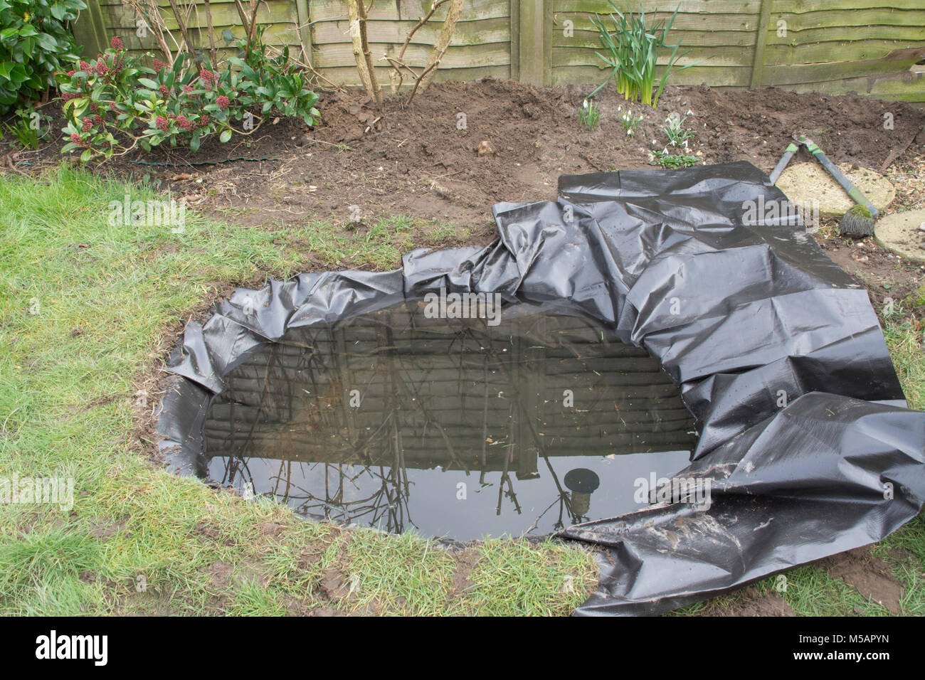 Preparing and lining a garden pond for wildlife - Stock Image