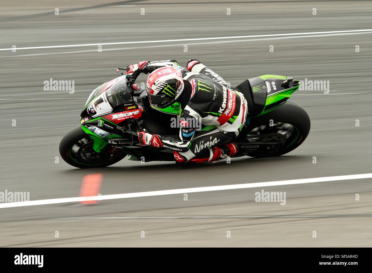 Jonathan Rea (GBR) of Kawasaki Racing Team during 2017 MOTUL FIM Superbike World Championship, Prosecco DOC German - Stock Image