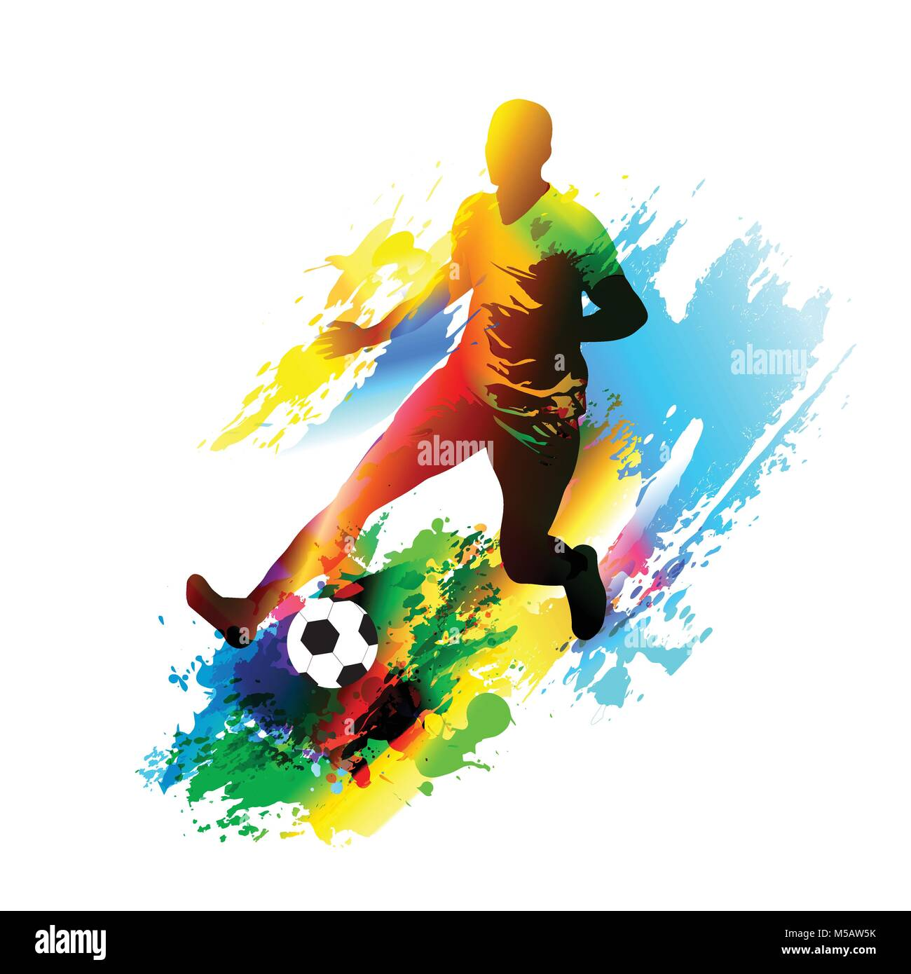 Soccer player running with the ball. Football field - Stock Vector
