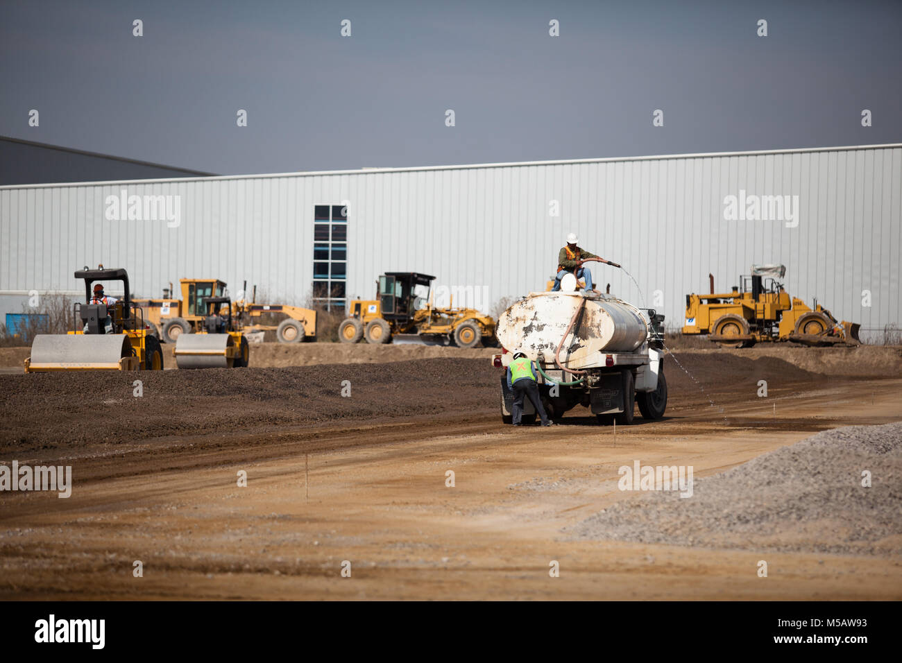 Construction at the Volkswagen factory in Puebla, Mexico on Wednesday, January 21, 2015. This is one of the largest Stock Photo