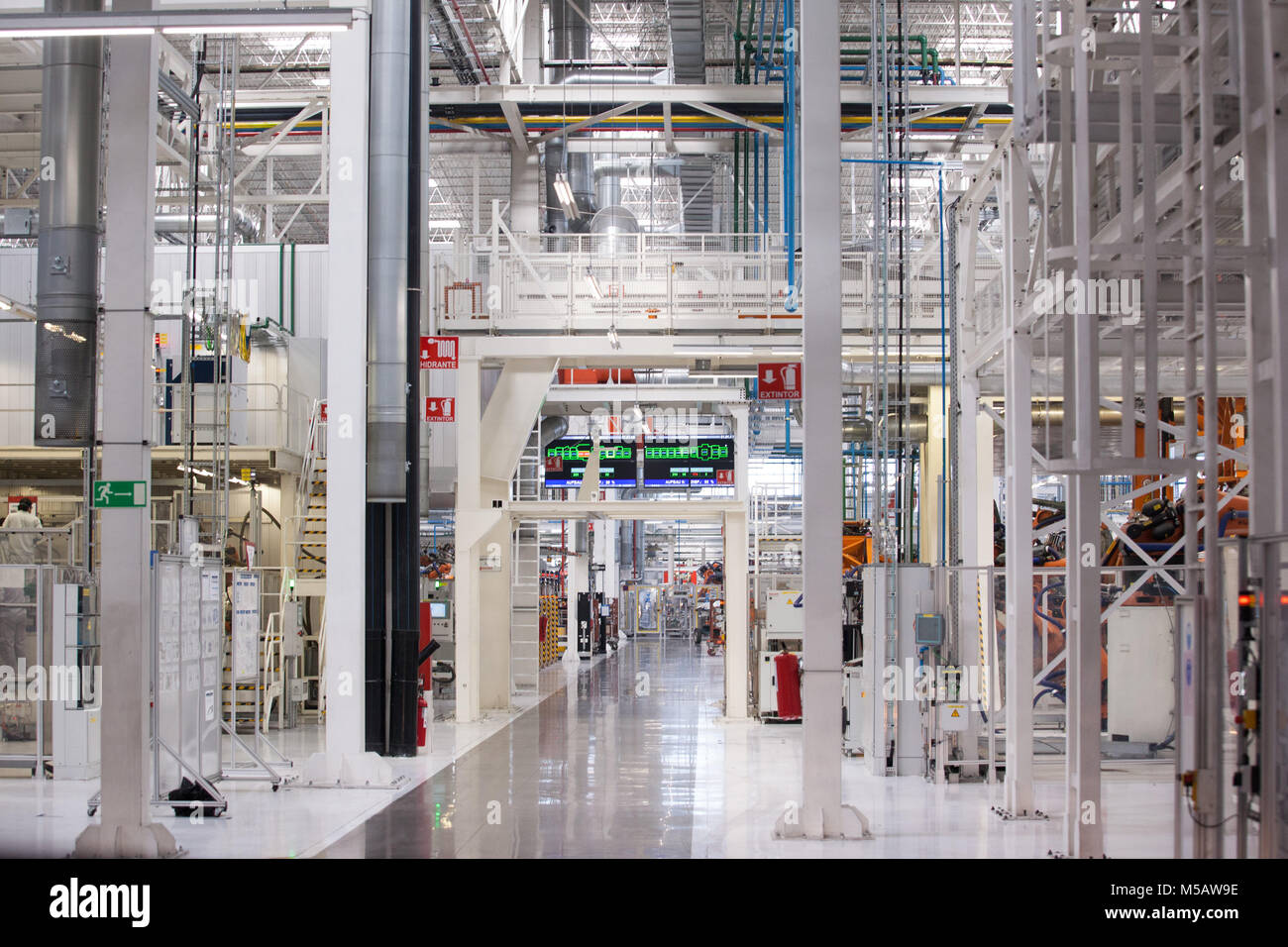 The Golf vehicle section of the Volkswagen factory in Puebla, Mexico, Wednesday, January 21, 2015. The plant is Stock Photo