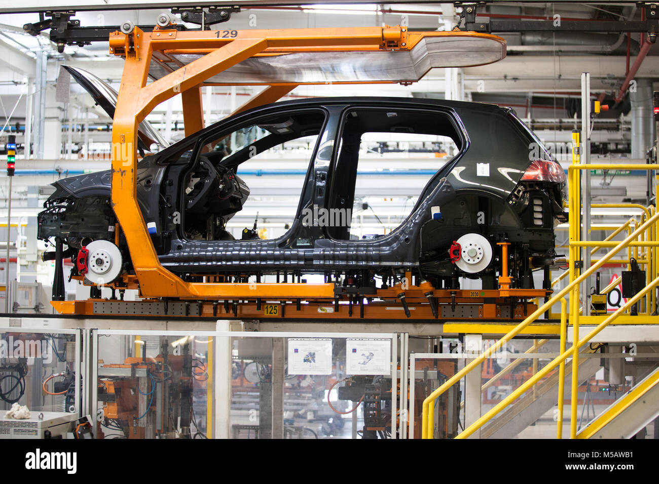A Golf vehicle frame at the Volkswagen factory in Puebla, Mexico on Wednesday, January 21, 2015. This is one of Stock Photo