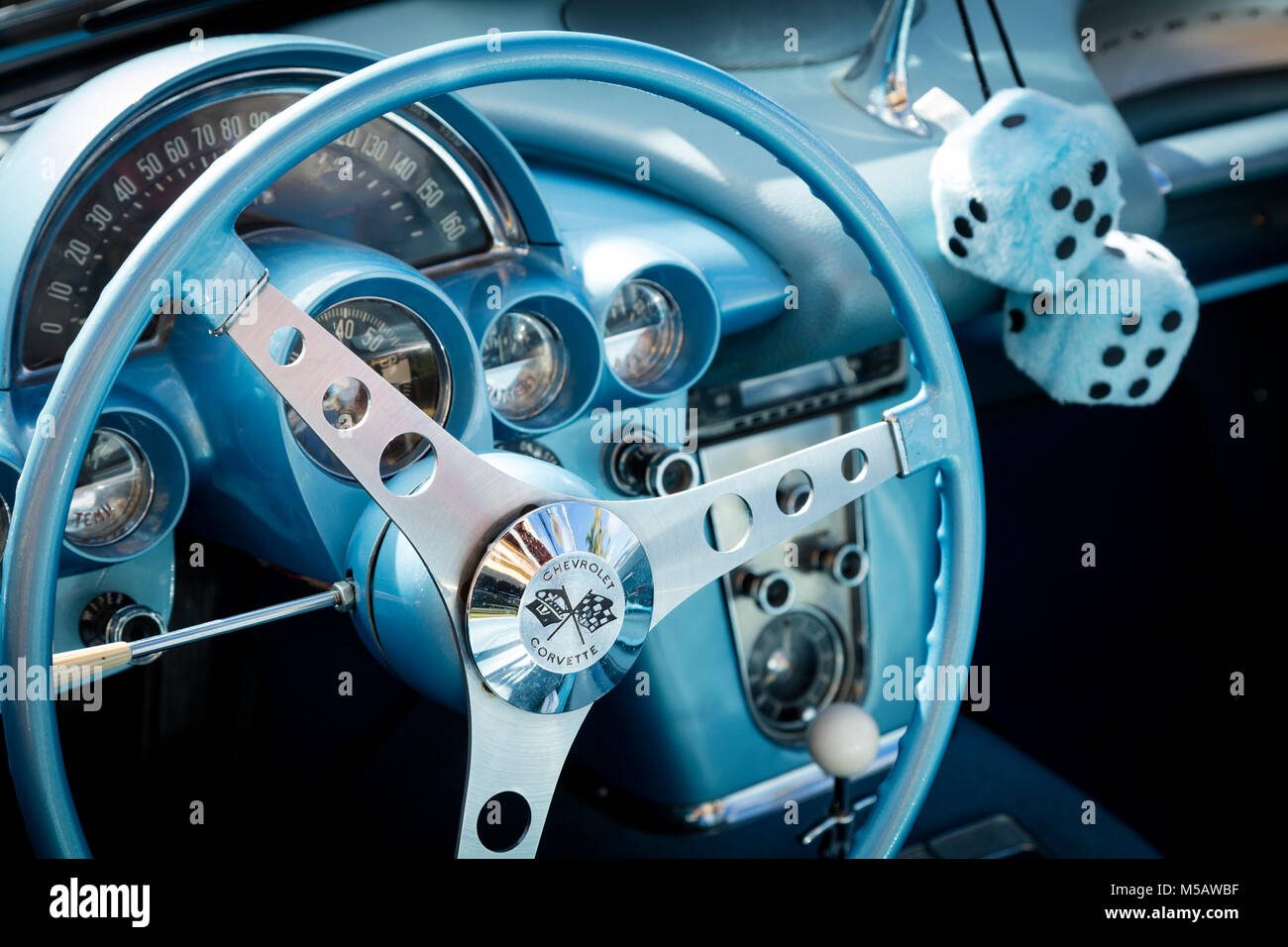 Steering wheel of a 1959 Chevrolet Corvette Stingray on display at 'Cars on 5th' autoshow, Naples, Florida, - Stock Image