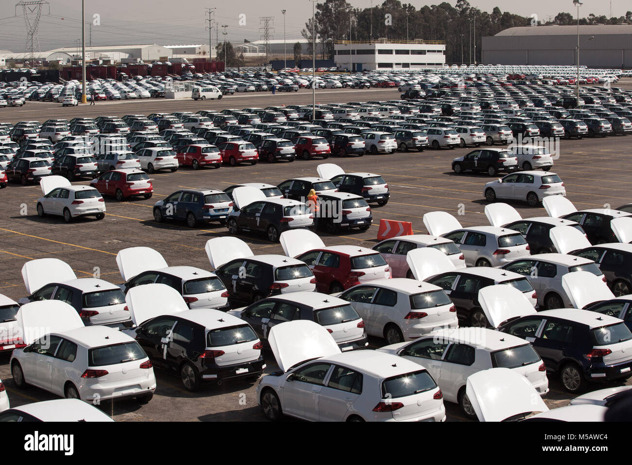 Vehicles ready to ship from the Volkswagen factory in Puebla, Mexico on Wednesday, January 21, 2015. This is one Stock Photo