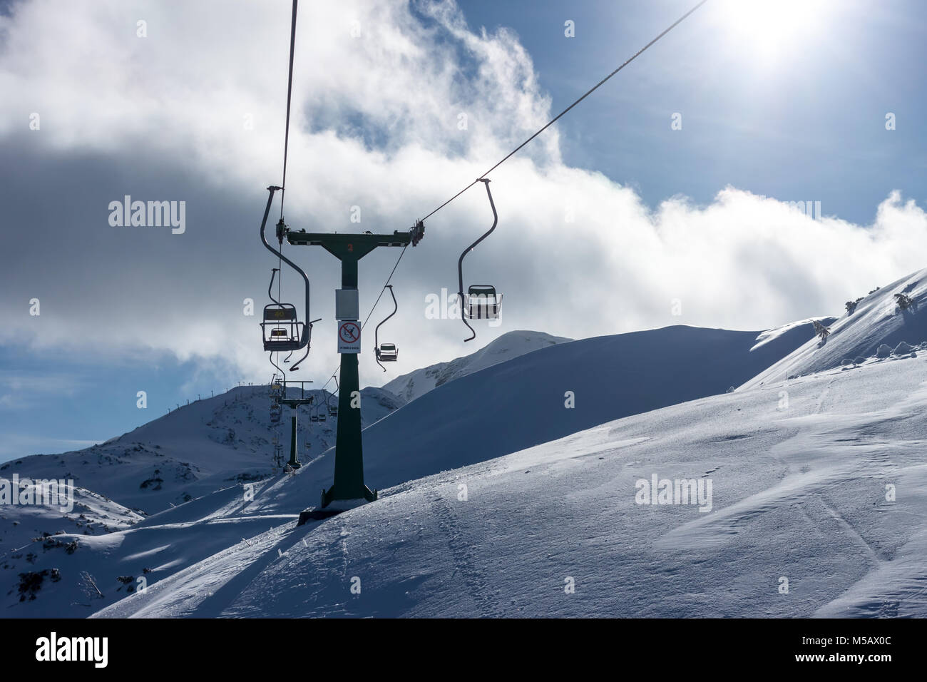 winter ski resort chairlift - Stock Image