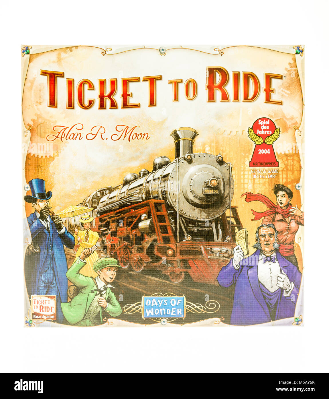 Winneconne, WI - 19 November 2017: A box of Ticket to ride board game on an isolated background. - Stock Image