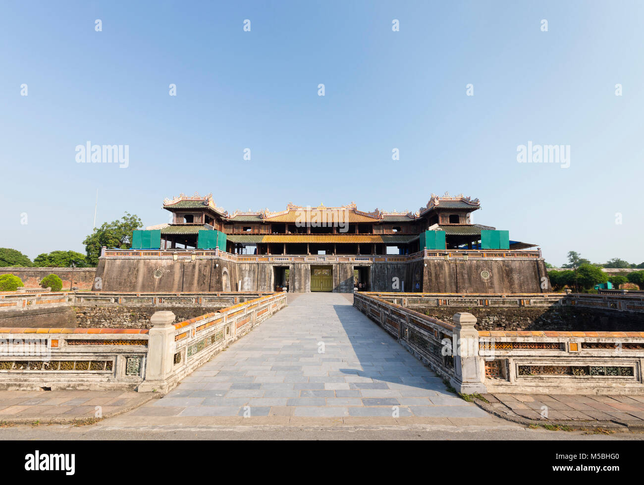 Morning gate, Ngo Mon gate, main entrance to the Imperial Palace Hoang Thanh, Forbidden City, Hue, Vietnam Stock Photo