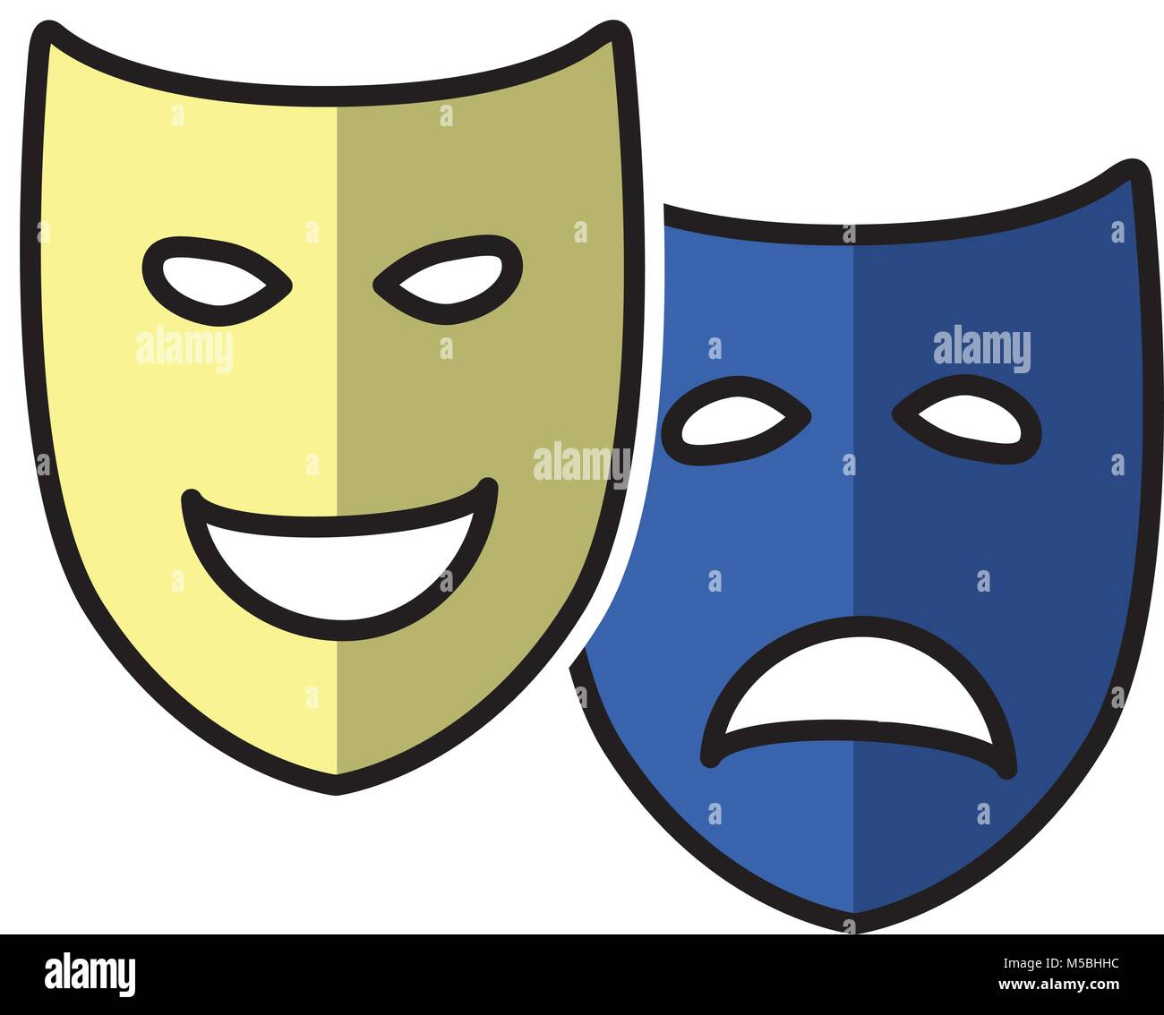 Sad and Happy Theatrical Drama and Comedy Masks Stock Vector Art ...