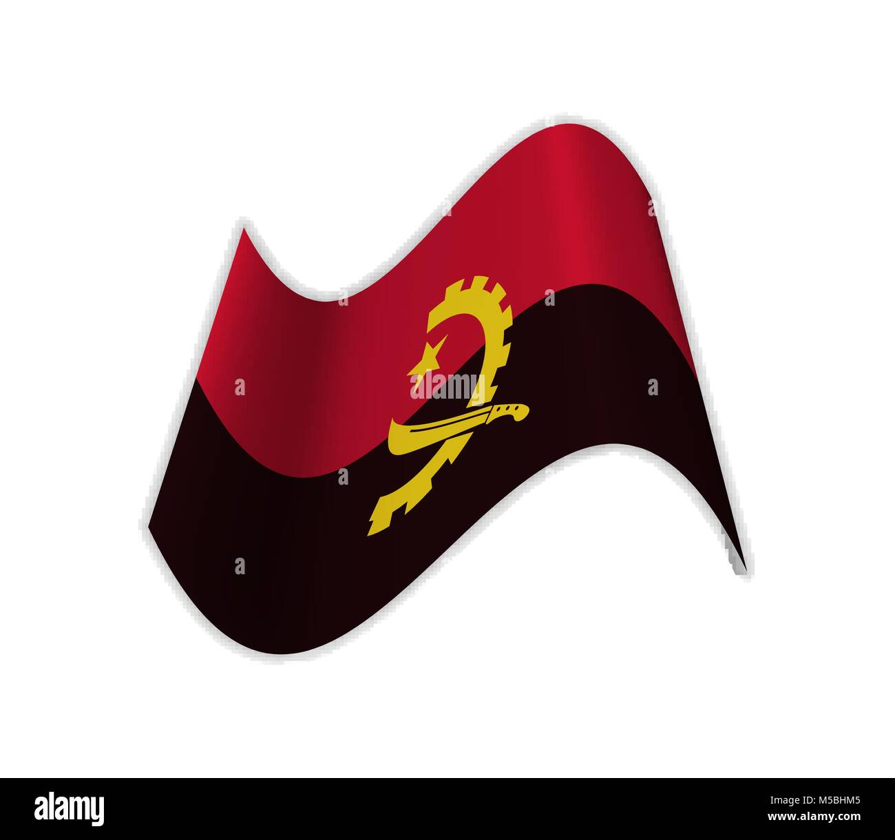The Flag Of Angola. South Africa. Vector illustration - Stock Vector