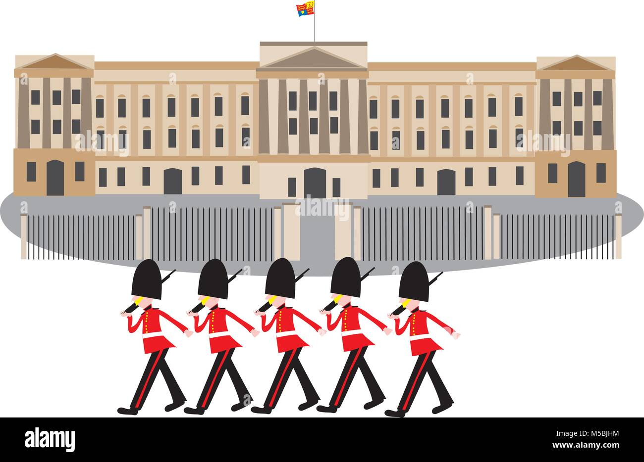 A cartoon Buckingham Palace with guards in bearskin hats marching in front of the gates - Stock Vector