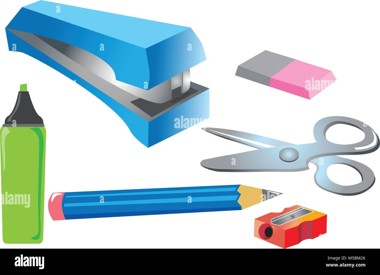 A cartoon illustration of crafting and art equipment - Stock Vector