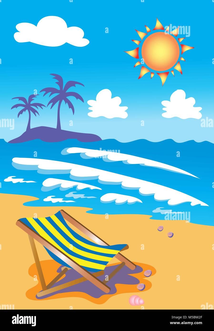 Deckchairs on tropical beach - Stock Vector