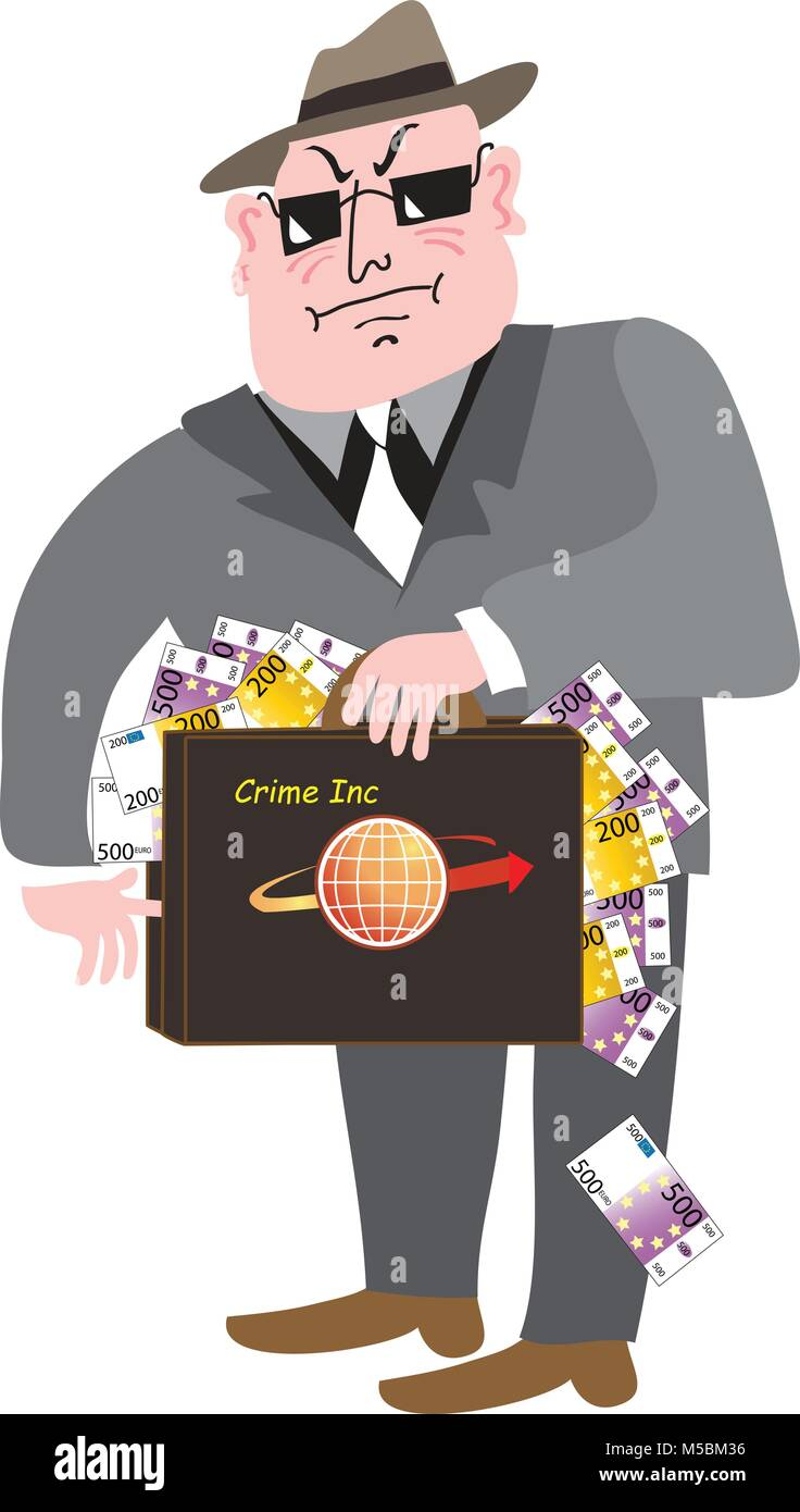 A cartoon illustration of a mafia type gangster dressed in a sharp dark suit and dark glasses, with a brief case - Stock Image