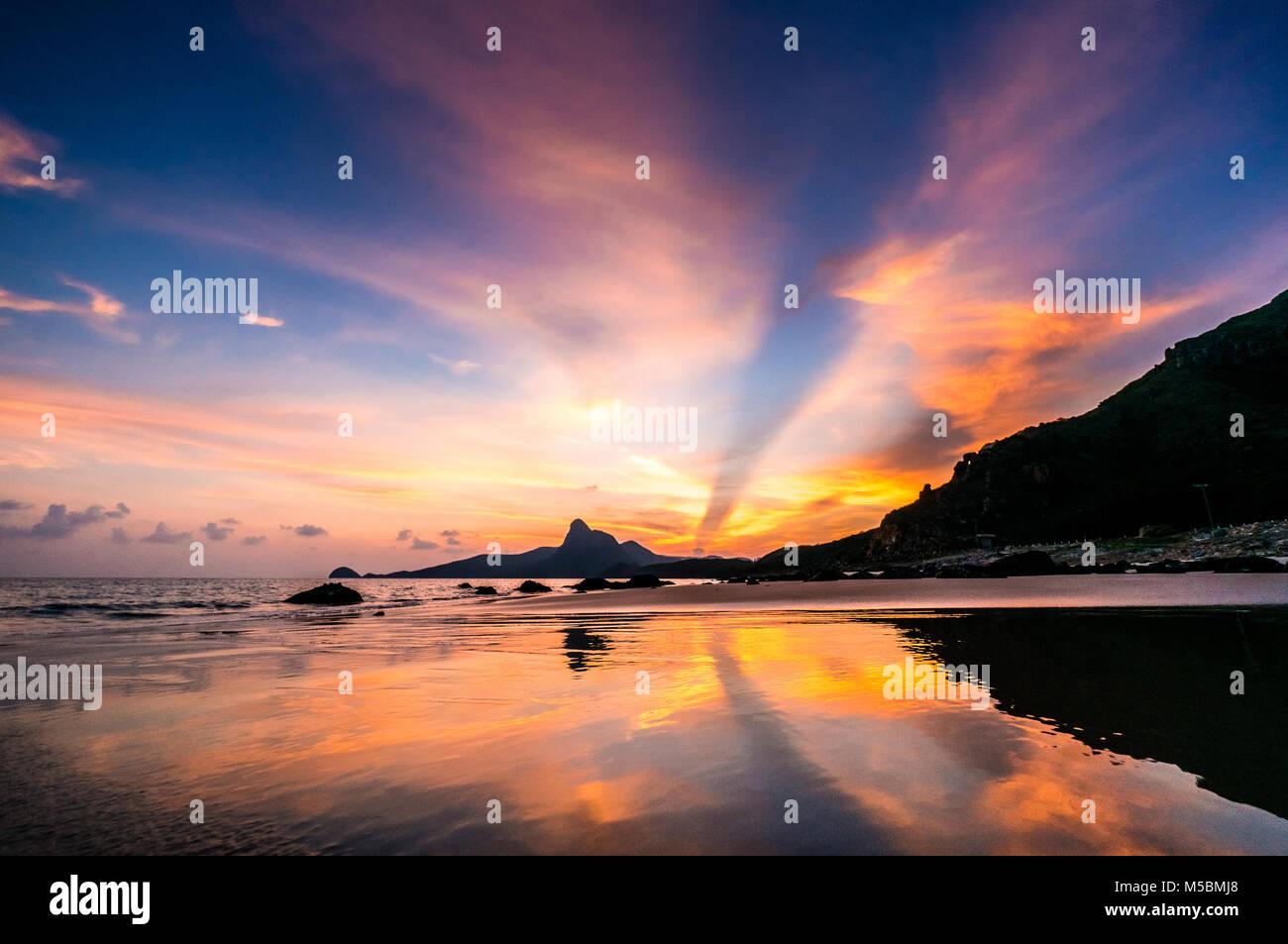 Sunset on mountain Love. View from Nhát beach. Con Dao island, Ba Ria, Vung Tau, Vietnam Stock Photo