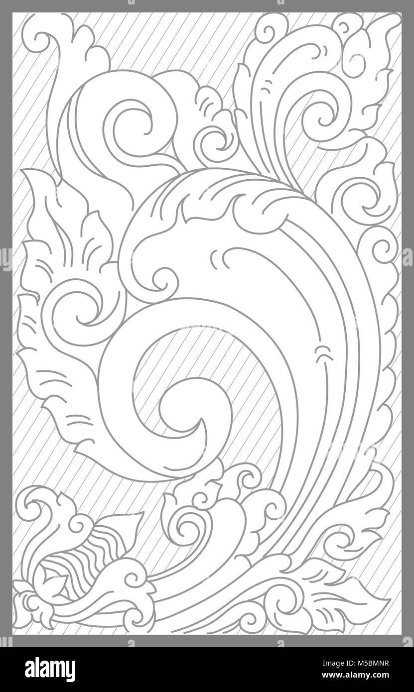 bali floral decoration motif - Stock Vector