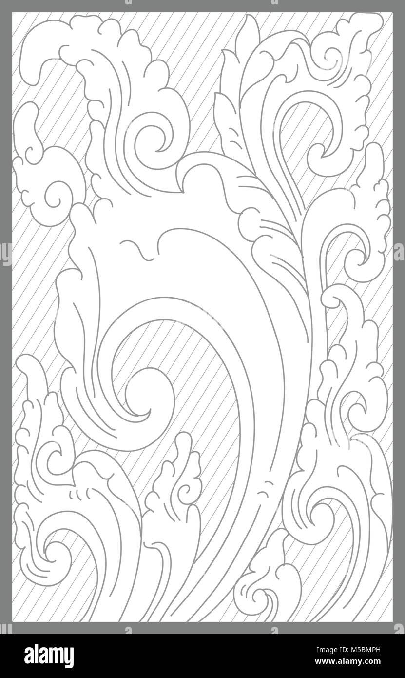 cirebon floral decoration motif - Stock Vector