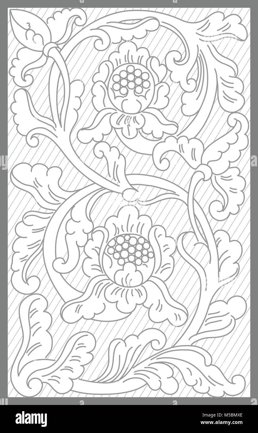 jogya floral decoration motif - Stock Vector